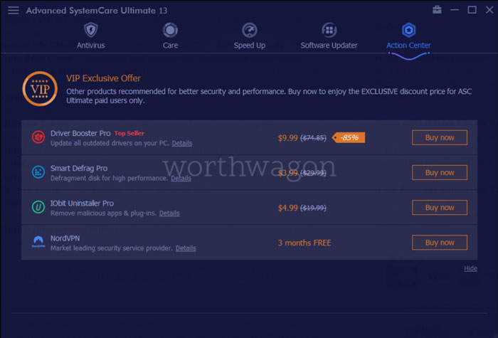 Advanced SystemCare Ultimate 13 Action Center