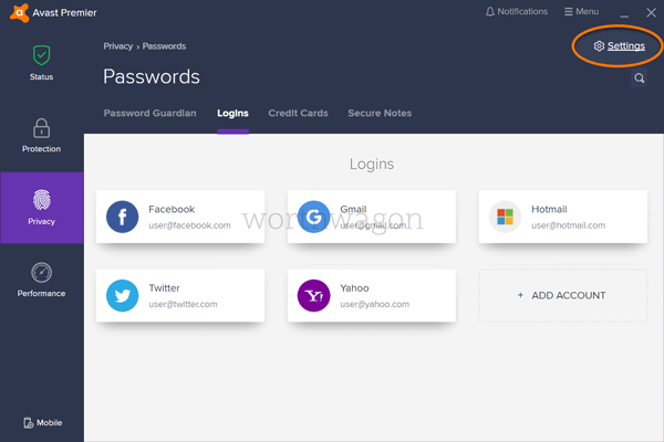 Avast Ultimate - Password Premium Features