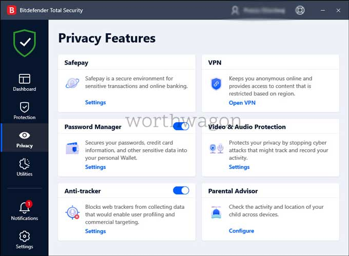 Bitdefender Total Security 2021 Privacy Features