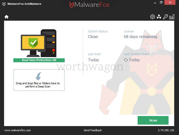 MalwareFox Premium Home Screen
