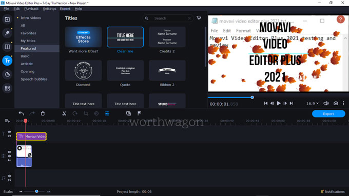 movavi video editor plus 2021 titles