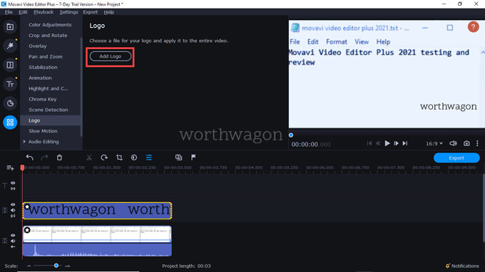 movavi video editor plus 2021 add Logo