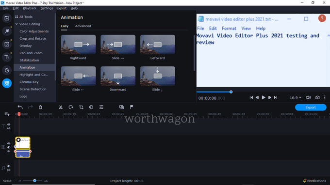 movavi video editor plus 2021 animation