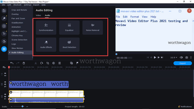 movavi video editor plus 2021 Audio Editing