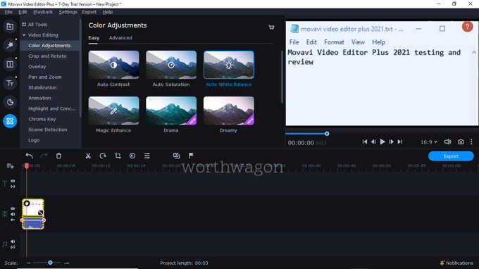 movavi video editor plus 2021 Color Adjustments