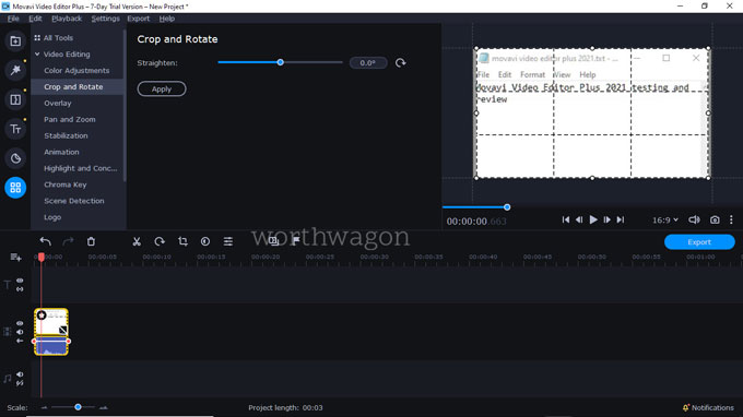 movavi video editor plus 2021 crop and rotate