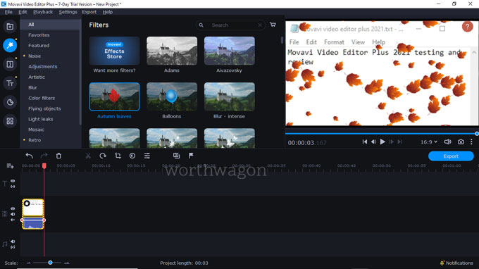movavi video editor plus 2021 filters