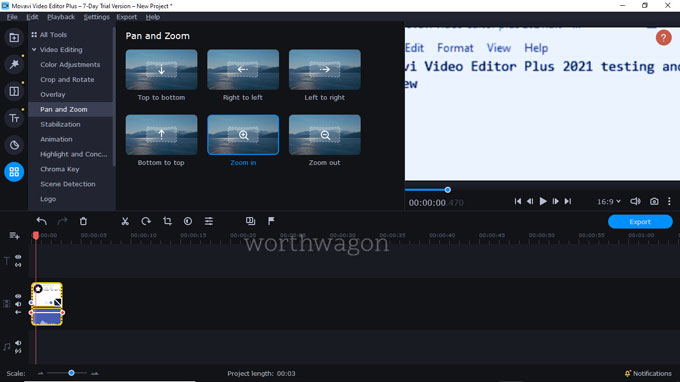 movavi video editor plus 2021 pan effect