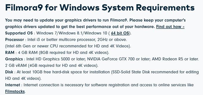 Filmora System Requirements
