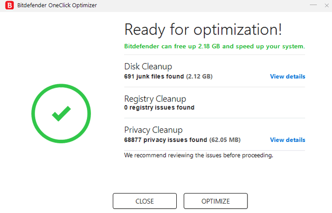 Bitdefender Total Security 2020 review oneclick optimizer