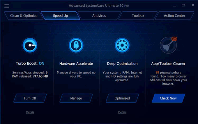 Advanced SystemCare Ultimate speed up window