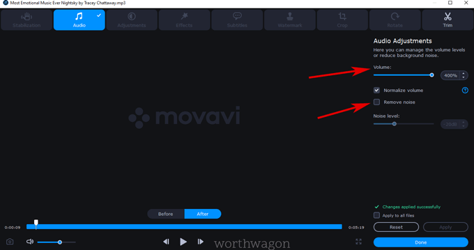 Audio setting in movavi video converter