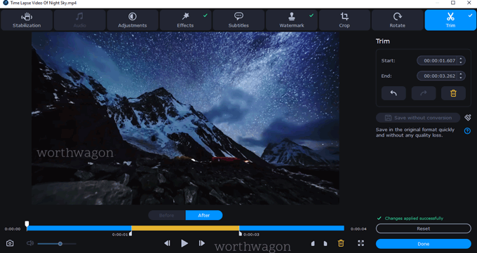 Trim option in Movavi Video Converter