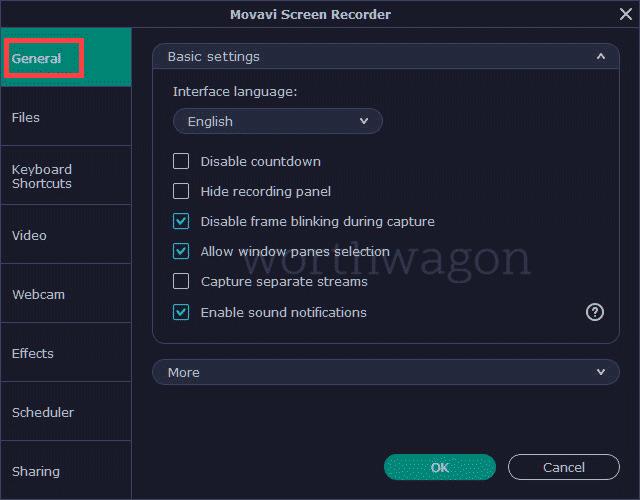 Movavi Screen Recorder General options