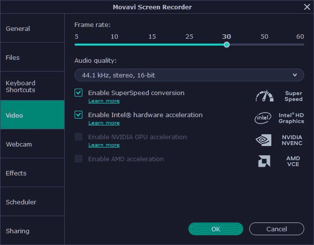 Movavi Screen recorder video option