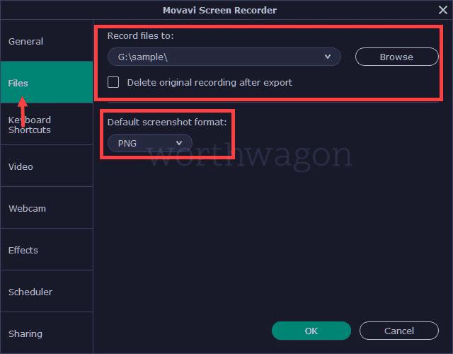 save folder Movavi Screen Recorder